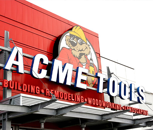 ACME Tools in Grand Forks ND Channel Letters on outside of building