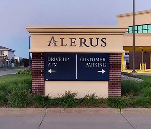 Alerus Financial Center Fargo ND Directional Monument Faux Brick Base home