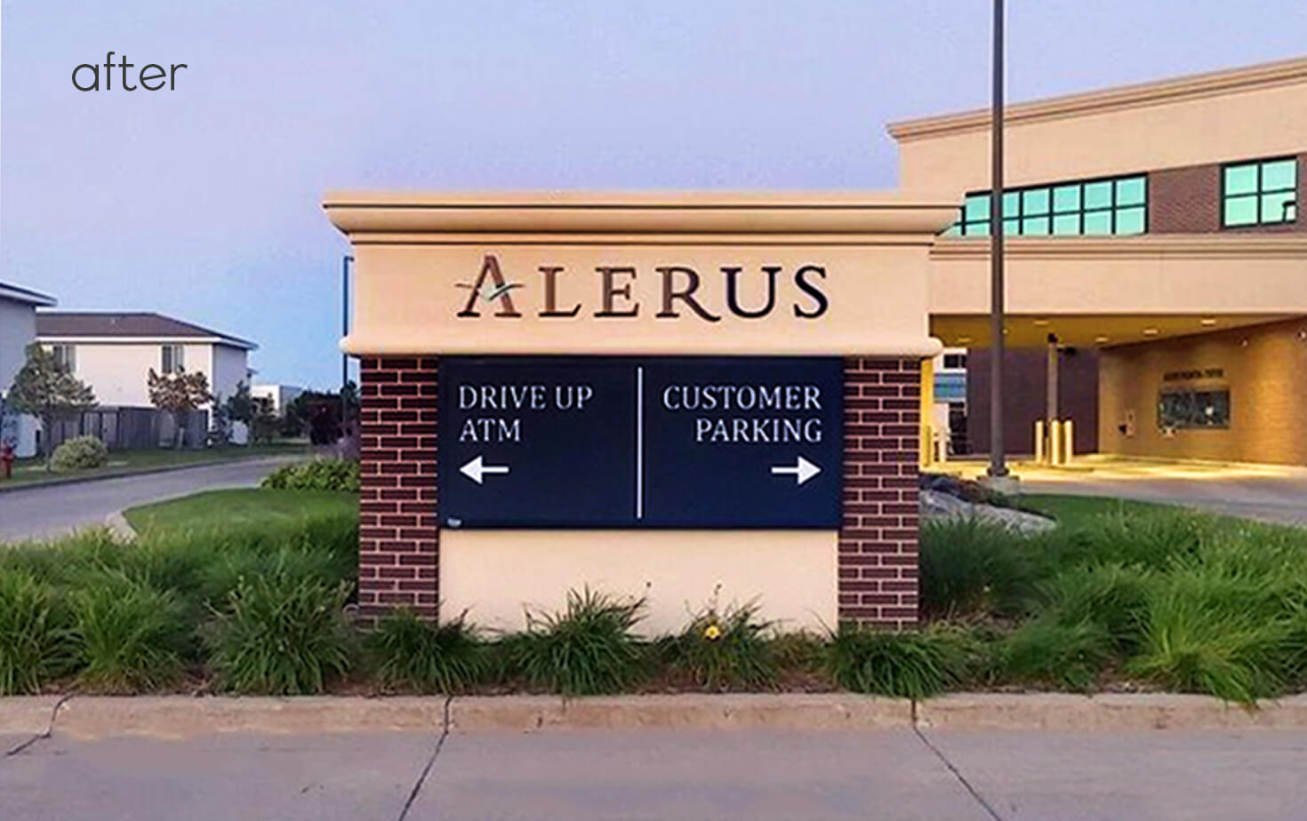 Alerus Financial Center Fargo ND Directional Monument Faux Brick Base