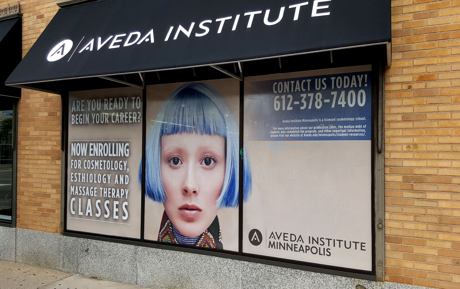 Aveda Institute exterior storefront window graphics