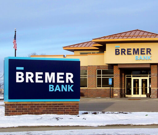 Bremer Bank In Owatonna MN Exterior Signage after Brand Conversion Monument and Channel Letters