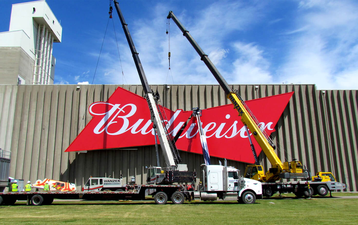 Budweiser Moorhead MN Largescale Wall Sign Install on Side of Building