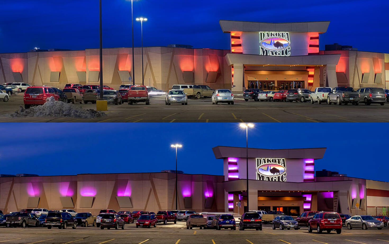 Dakota Magic Casino Hankinson ND Building Exterior Architectural Lighting and Channel Letters Purple and Orange Lighting