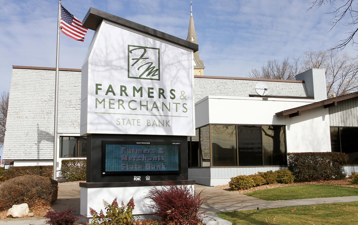 Farmers Merchants State Bank Monument Sign with EMC Custom shaped