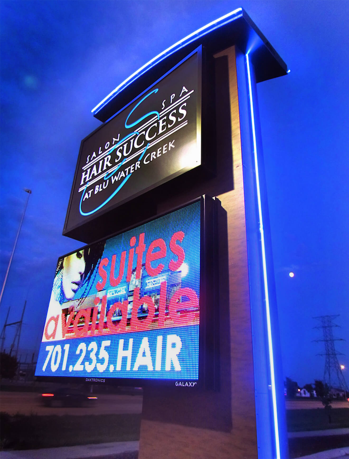 Hair Success at Blu Water Creek Fargo ND Custom Pylon Sign with Accent Blue Lighting and Daktronics EMC