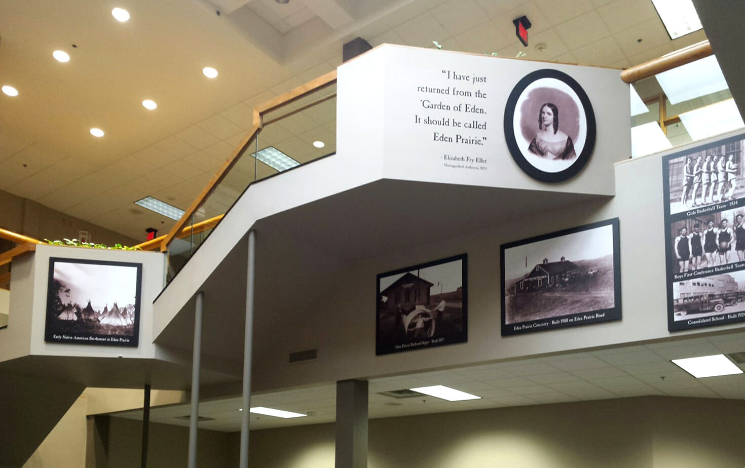 History Photo Display on 2nd floor railing at City of Eden Prairie MN