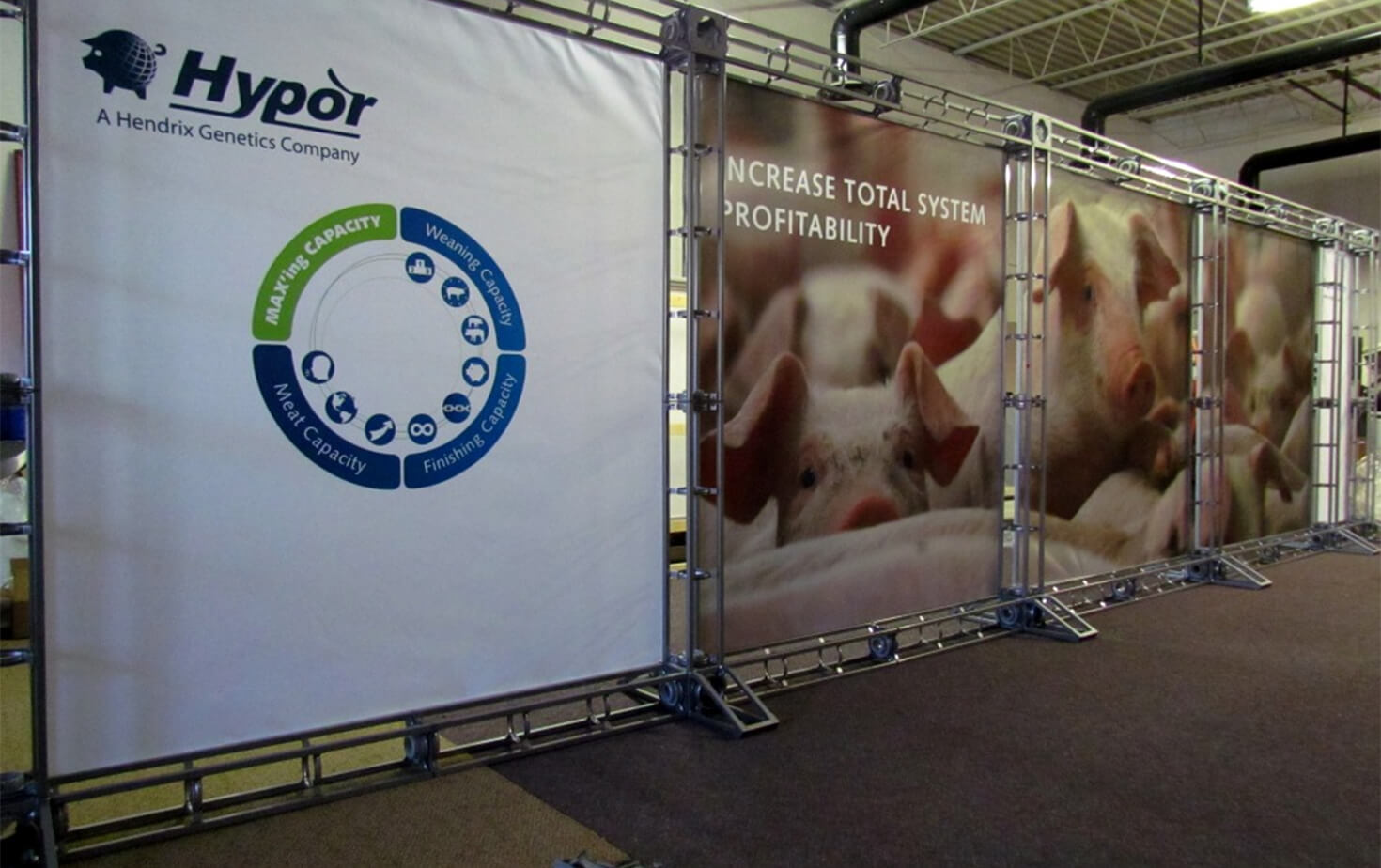 Hypor Hendrix Genetics tradeshow display on a 4 structure panel