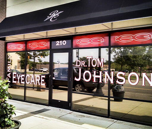 Infinate Eyecare in St Cloud MN window graphics covering entire storefront