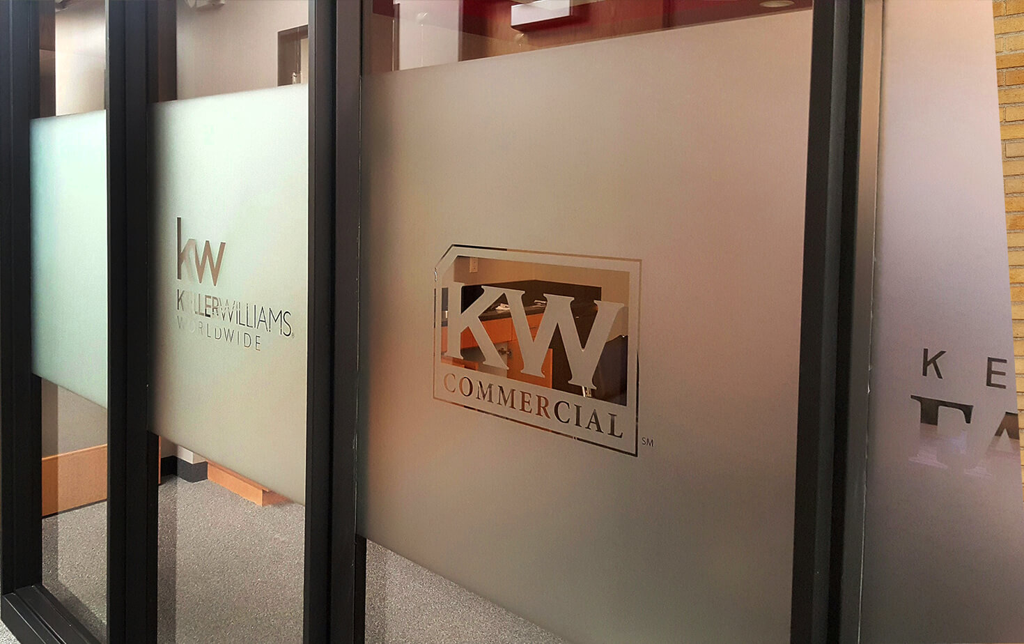 Keller Williams Interior etched glass window vinyl with logo