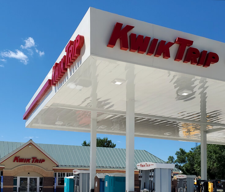 Kwik Trip Willmar MN Gas Canopy and building channel letters