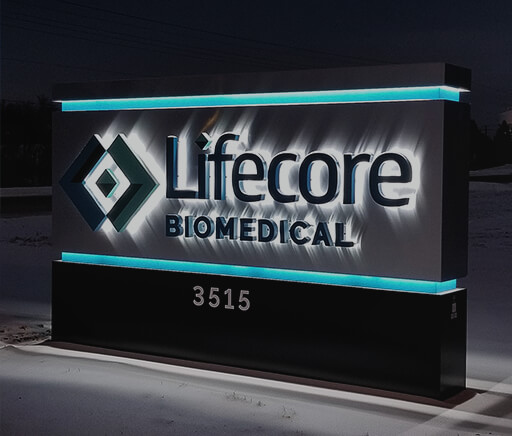 Lifecore BioMedical Chaska MN Monument Sign night view Reverse Mount Channel Letters