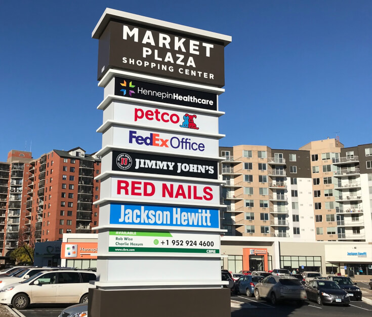 Market Plaza Shopping Center Pylon Sign Richfield MN
