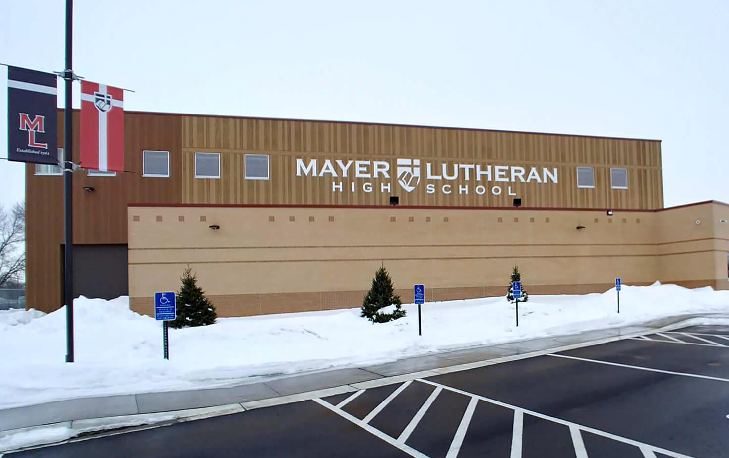 Mayer Lutheran High School Dimensional Letters on Building