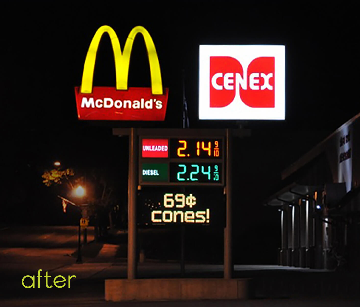 McDonalds and Cenex Exterior sign after lighting conversion