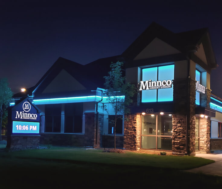 Minnco Credit Union Big Lake MN Exterior Signage at Night