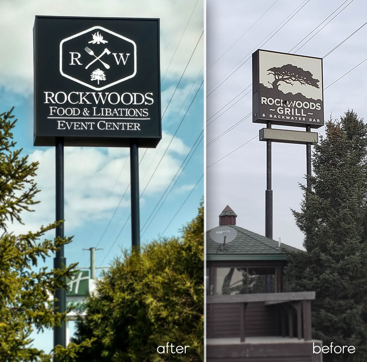 Rockwoods Food & Libations Event Center Before after Sign Renovations