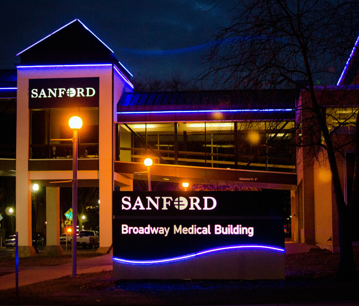 Sanford Health Fargo ND Monument LED Accent Lighting and Channel Letters Downtown