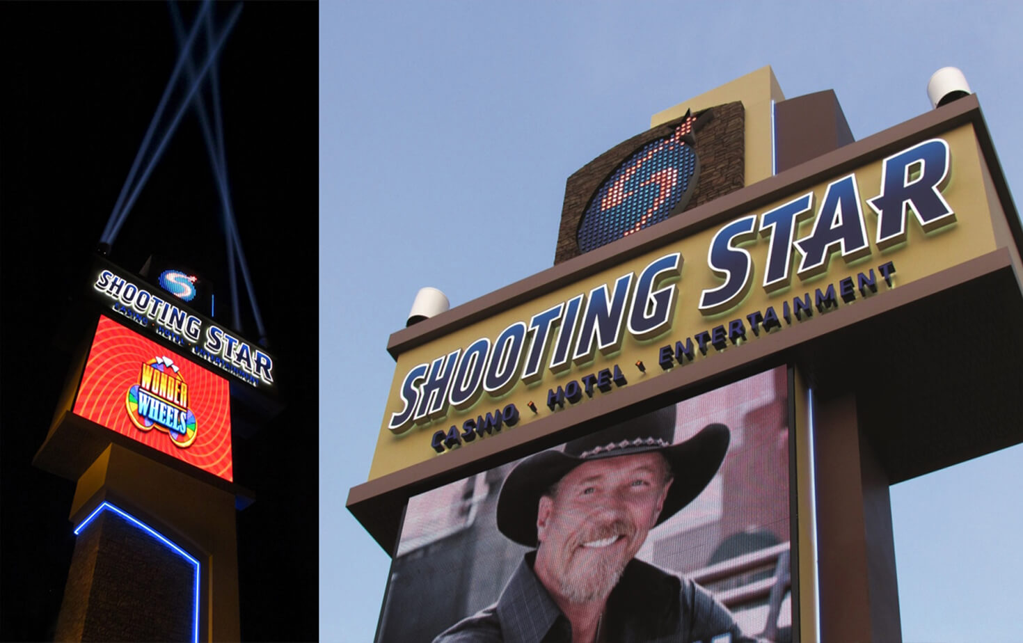 Shooting Star Casino in Mahnomen MN Exterior Pylon Sign Header showcasing Digital Display and Accent Lighting