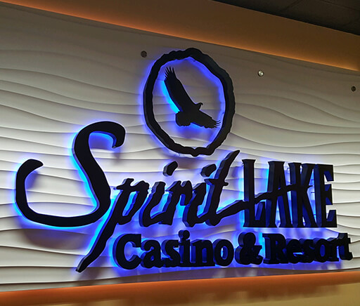 Spirit Lake Casino and Resort Custom Dual Halo Illuminated Wall Sign with Textured Backer Panel
