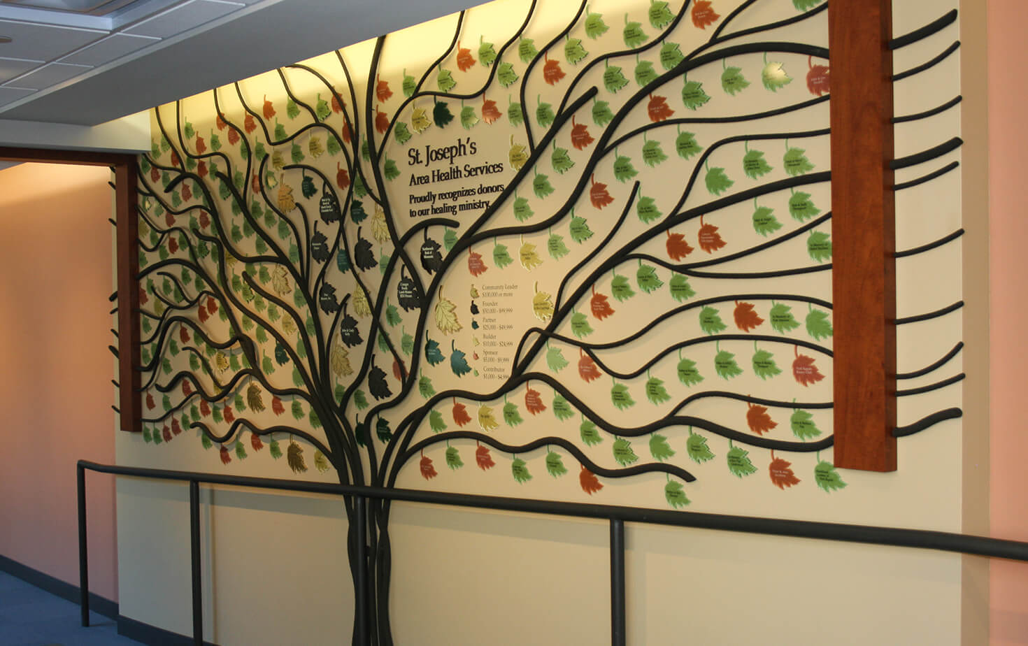St Joseph's Area Health Services Donar Display wall Tree with Leaves