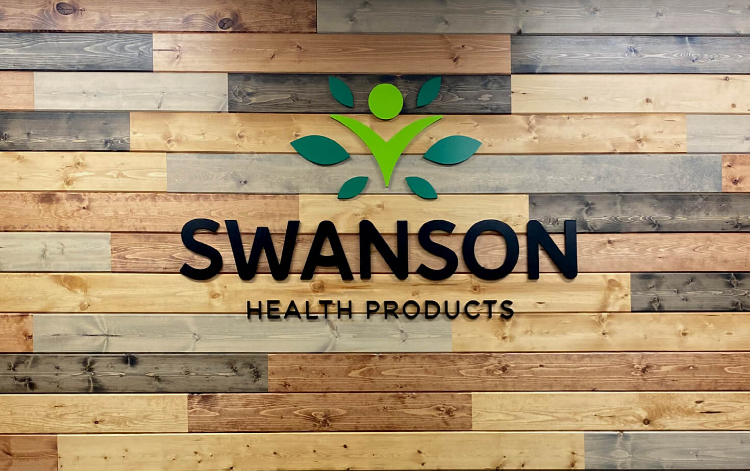 Swanson Health Products Interior Logo on Wood Wall