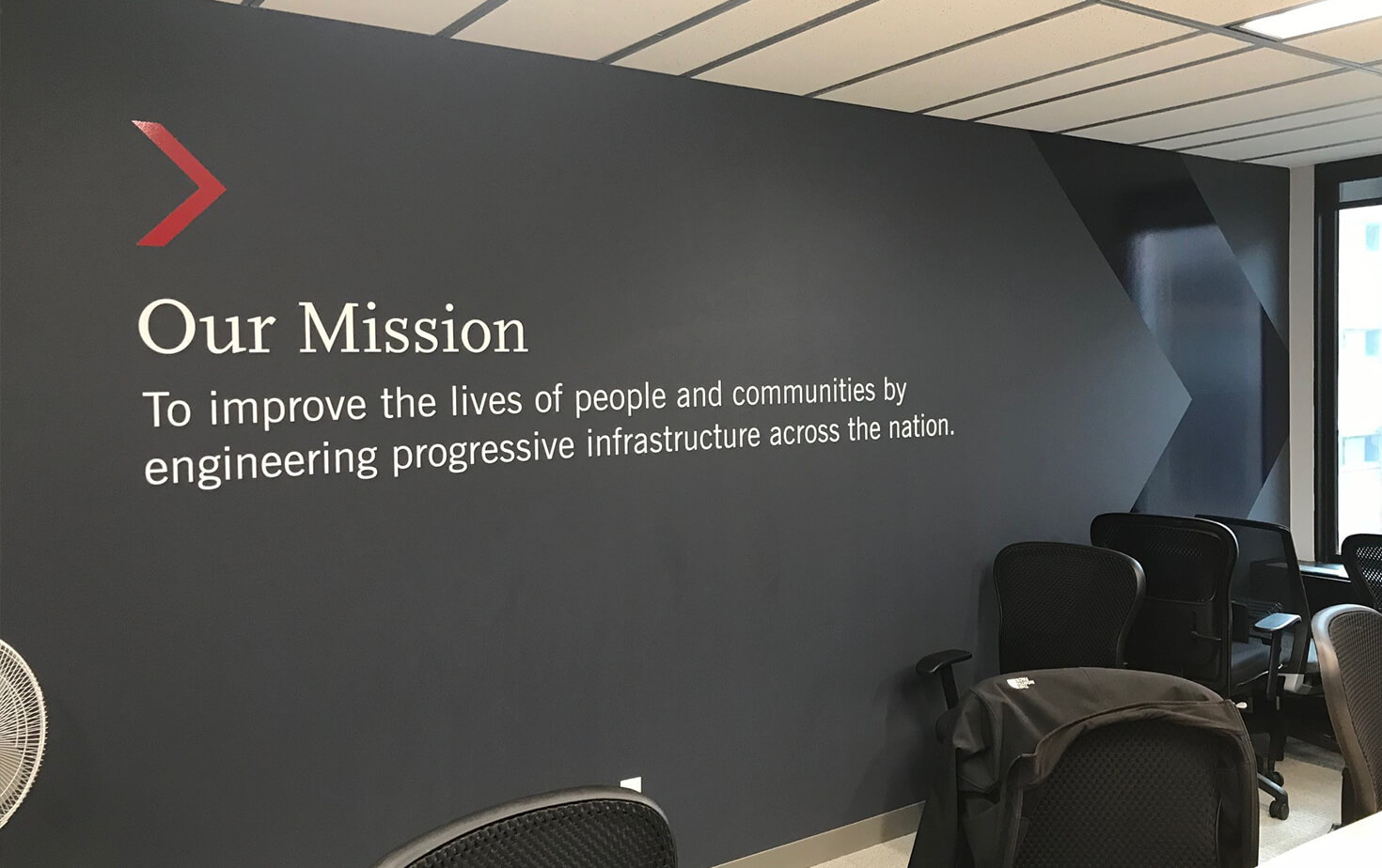 The Link Interior Mission Statement Wall Mural in Conference room