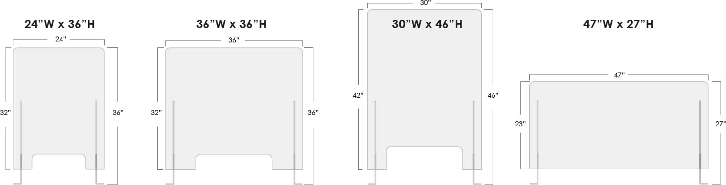 Covid Barrier standard sizing templates