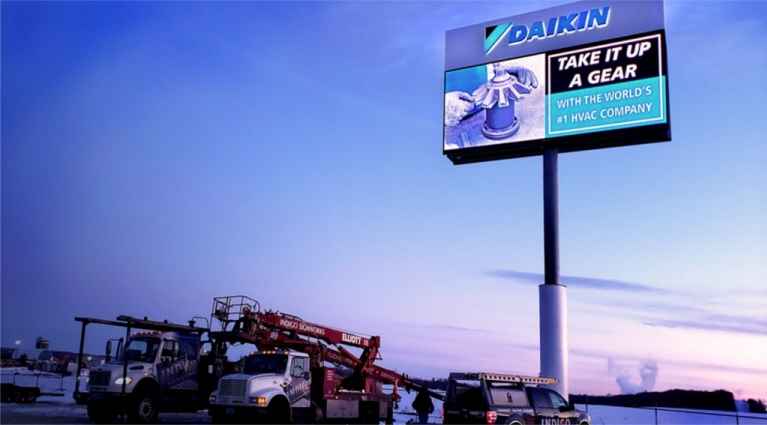 Dakin Applied Americas Fairbault MN Pylon Sign with Daktronics Digital Display