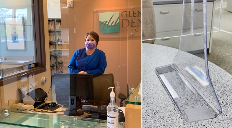 Glacier Lake Dental Lakeville MN Reception Area Covid Sneeze Guard and Nurse